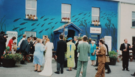 Wedding party outside Eithnas by the sea restaurant Mullaghmore