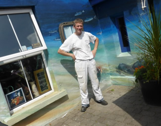 Barry Sweeney in front of Eithnas by the sea seafood restaurant in Mullaghmore